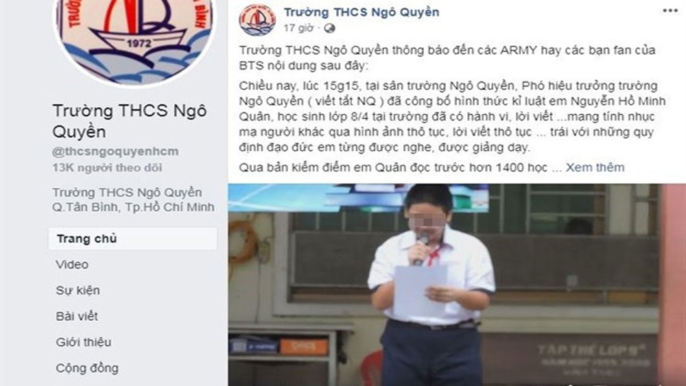 Bộ Giáo dục và Đào tạo yêu cầu báo cáo vụ nam sinh bị kỷ luật vì xúc phạm nhóm BTS